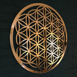 Flower of Life goud spiegel acryl 59 cm